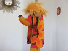 """Géante lampe """"chien"""" tissu psychédélique années 70"""