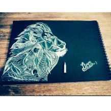 Dessin Lion Crayon Blanc