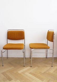 Paire de chaises vintage orange années 70