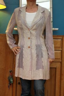 haut veste  transparente motif feuille T2/38-40 amazone