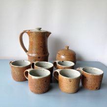 Service à café en grès chamotté - Vintage