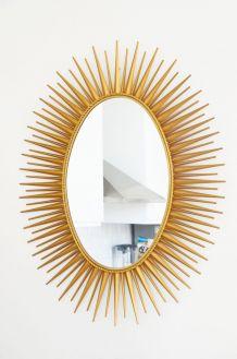 Miroir soleil Chaty Vallauris 92 cm signé vintage