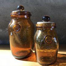 2 pots en verre BIOT  - marrons