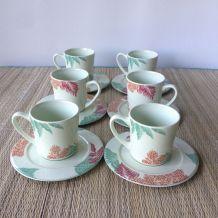 Service à café 6 tasses vert amande, faïencerie Longchamp