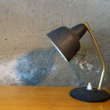 Lampe de  bureau en métal noir effet granité 1950