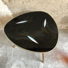 Table basse tripode plateau verre à motifs 1950