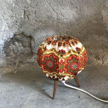 Lampe de chevet pied tripode tissu vintage