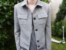 Veste Camaieu chinée noir et blanc