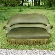 Banquette crapaud ancienne vert olive