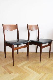 Paire de chaises scandinave vintage en teck
