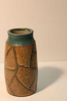 Vase en grès beige turquoise