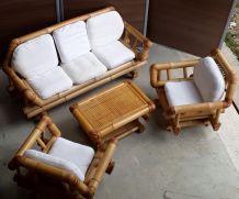 canape 2 fauteuils +table bambou