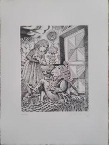 Gravure originale signée - Alice et le crapeau