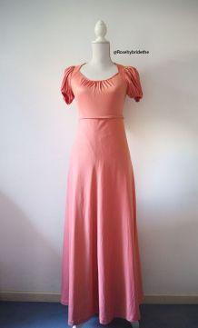 Robe longue hippie rose saumon manches ballons vintage 70's