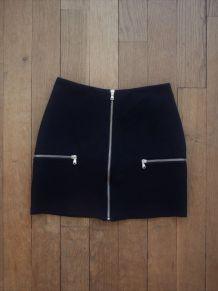 Jupe Courte Cintrée Noire 3 Zip -Taille XS- Imperial