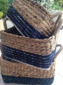 3 Panières tressées en jacinthe d eau