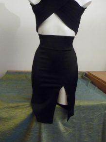 Jupe Cintrée Noir Mi Longue Taille Haute- Suzanne Grignard