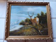 Toile peinte représentant des cerfs