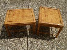 lot de 2 tables basses en bambou vintage années 80