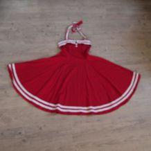 Robe rétro rockabilly dos nu rouge & blanche Collectif