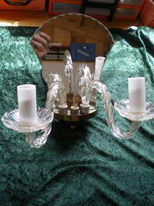 Paire appliques verre et métal