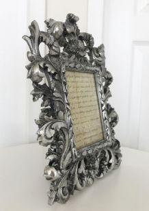 Cadre photo argenté sculpté