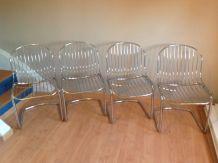 Série de 4 chaises filaires en métal chromé / vintage années