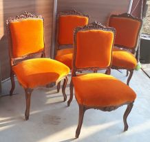 lot 4 chaises   louis  XIX en noyer