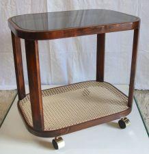 Table d'appoint/bout de canapé – verre & cannage