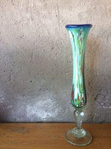 Soliflore en verre superbe décor signé Marc Biot