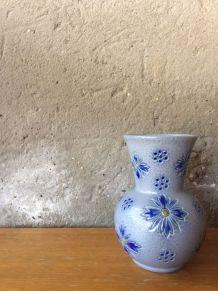 Petit vase en grès d'Alsace décor de fleurs