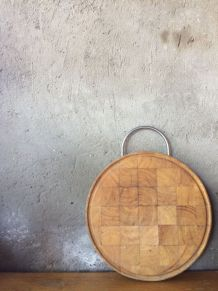 Ancienne planche à découper ronde en bois