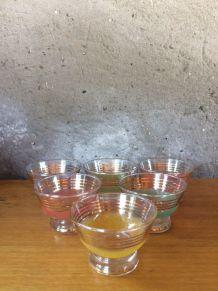 6 petites coupelles à glace vintage effet granité colorées