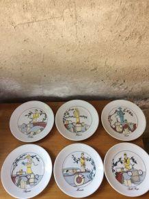 6 assiettes à dessert en porcelaine création Jacques Lobjoy