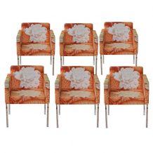 6 Fauteuils tissu fleurs design années 80 - Sancal