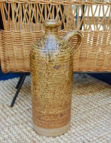 Bouteille ou cruche à anse grès vernissé