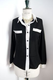 Chemise top bicolore noir blanc black white working girl