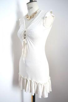 Robe coton beige blanc cassé crème moulant perle nacré