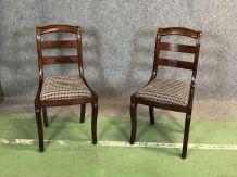 Paire de chaises époque Restauration en acajou