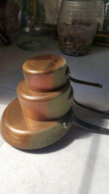 Lot casseroles cuivre