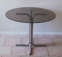 Table ronde verre fumé et chrome - vintage 70
