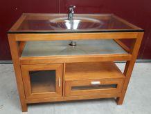 meuble bois vegas et vasque verre 1,5 cm