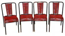 Lot de 4 chaises scoubidou rouge et noir
