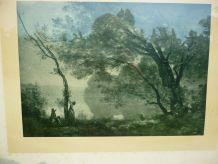 Tableau de Corot Souvenir de Mortefontaine en noir et blanc