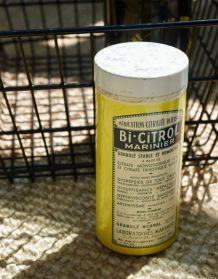 Boite fer vintage jaune Bi Citrol Marinier
