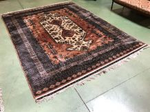 Grand tapis d'orient fait main en laine et soie