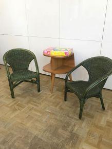 Paire Fauteuils enfant Osier Rotin Vintage
