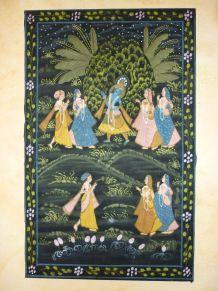 Unique Peinture indienne Krishna peinte à la main sur tissu