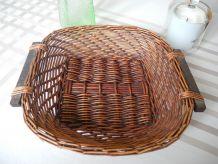 Ancienne Corbeille Artisanale Rotin et poignées en bois