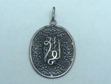 Joli PENDENTIF ANCIEN ARGENT MASSIF ISLAM FILIGRANE CORAN I